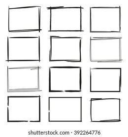 grunge frames isolated vector, hand drawn rectangles