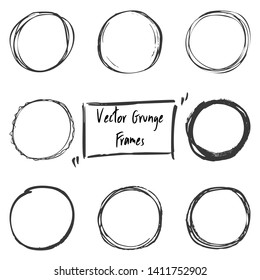 Grunge Frames for Text, Scratch Hand Drawn Vector Elements for Design. Empty Ink Borders Set. Hand Made Scribble Textures.