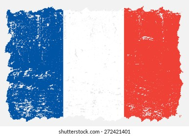 Grunge France flag.French flag with grunge texture.Vector template.