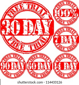 Grunge free trial set rubber stamp, vector illustration