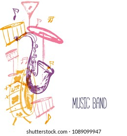 Grunge freehand Jazz Music poster. Hand drawn illustration with brush strokes for festival.