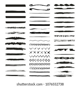 Grunge freehand lines and dividers. Borders. Vector illustration. Isolated.