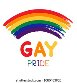 Grunge gay rainbow  with lettering isolated on white background. Gay pride symbol. LGBT community symbol.