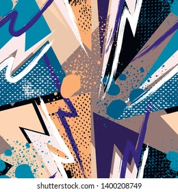 Grunge geometric pattern for girls, boys, fashion textile, sport clothes. Urban modern design with curved shapes, spray paint elements. Chaotic guys repeated backdrop