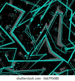 Grunge geometric pattern for girls, boys, fashion textile, sport clothes. Urban modern design with curved squares, shape, spray paint elements. Chaotic guys repeated backdrop