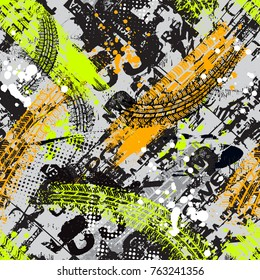 Grunge  geometric pattern for girls, boys, fashion textile, sport clothes. Urban modern design with curved squares, shape, spray paint elements. Chaotic  repeated backdrop
