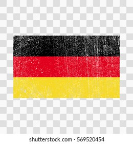 Grunge Germany flag. German flag with distress texture.Vector template. on transparent background
