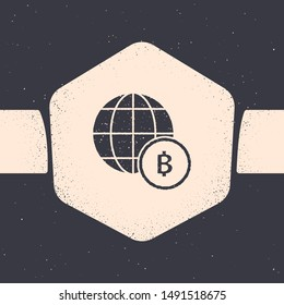 Grunge Globe and cryptocurrency coin Bitcoin icon isolated on grey background. Physical bit coin. Blockchain based secure crypto currency. Monochrome vintage drawing. Vector Illustration