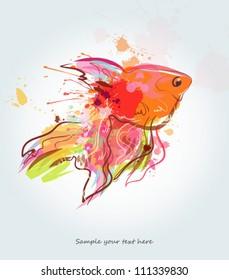 Grunge golden fish