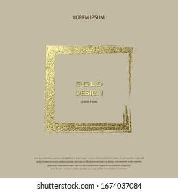 Grunge golden frame on beige background. Square luxury vintage border, stamp.Trendy, label, logo design element. Drawn shape vector Illustration. Gold Brush abstract wave.