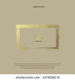 Grunge golden frame on beige background. Rectangular luxury vintage border, stamp.Trendy, label, logo design element. Drawn shape vector Illustration. Gold Brush abstract wave.