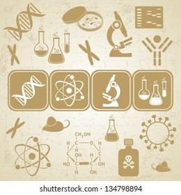 Grunge golden-brown card with molecular biology science icons