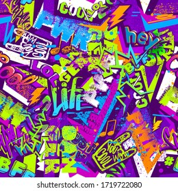 Grunge graffiti repeat print. Street art seamless pattern. Colorful teenagers grungy ornament for sport clothes, fashion textile, wrapping paper