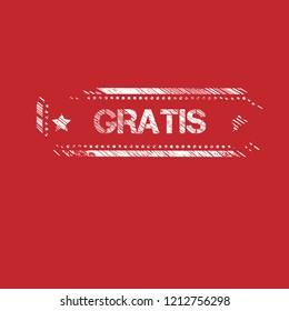 grunge gratis stamp,emblem, label, badge. vector illustration