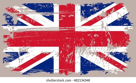 Grunge Great Britain flag.Old British flag.Vector template.