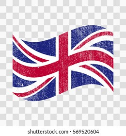 Grunge Great Britain flag. British flag with distress texture.Vector template. on transparent background
