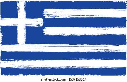 Grunge Greece Flag.Brush strokes Greek flag.