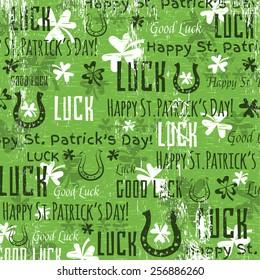 grunge green background for Patricks day with shamrocks, vector