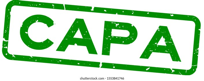 Grunge green CAPA (abbreviation of corrective action and preventive action) word squre rubber seal stamp on white background