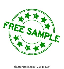 Grunge green free sample with star icon round rubber seal stamp on white background