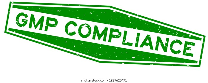 Grunge green GMP (Abbreviation good manufacturing practice) compliance word hexagon rubber seal stamp on white background