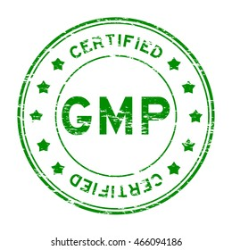 Grunge green GMP (Good manufacturing practice) and certified rubber stamp