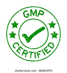 Grunge green GMP (Good Manufacturing Practice) certified rubber stamp