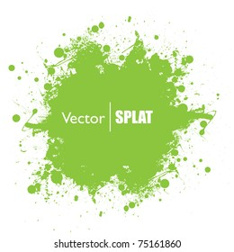 Grunge green ink splat with copyspace and white background