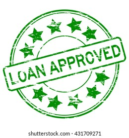 Grunge green loan approve stamp
