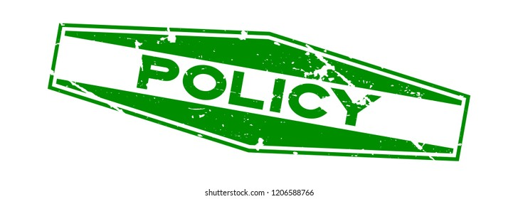Grunge green policy word hexagon rubber seal stamp on white background
