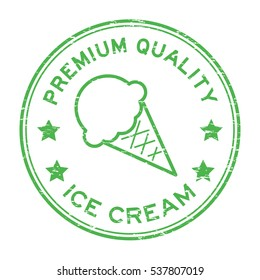 Grunge green premium quality ice cream round rubber stamp