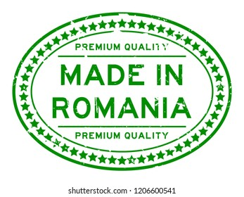 Grunge green premiumq quality made in Romania oval rubber seal business stamp on white background