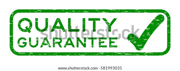Grunge green quality guarantee with mark square rubber seal stamp