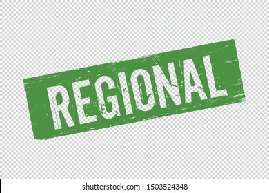 Grunge green Regional square rubber seal stamp on transparent  background. Retro Icon for design. Regional sign. Vector illustration