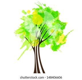 Grunge green tree
