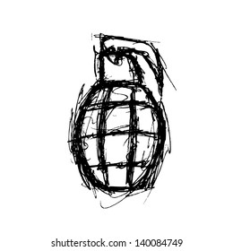 grunge grenade in doodle style