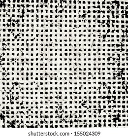 Grunge grid black and white texture. Vector ink grunge brush.