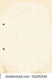 Grunge Grid Paper Sheet. Vector, Illustration of Grunge Grid Paper Sheet with holes.