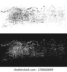 Grunge, grime vector texture on black and white backgrounds. Abstract gritty rough  element.