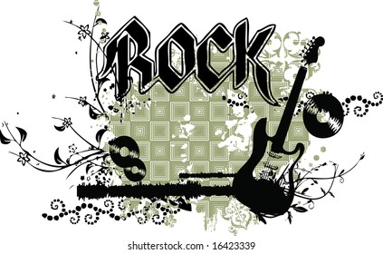 Grunge guitar vector with ROCK caption