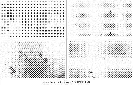 Grunge halftone backgrounds.Halftone dots design elements.