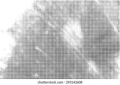 Grunge halftone dots vector texture background.