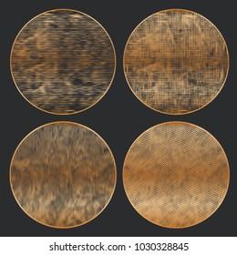 Grunge Halftone Drawing Textures Set. Black and Gold Design. Vector Illustration