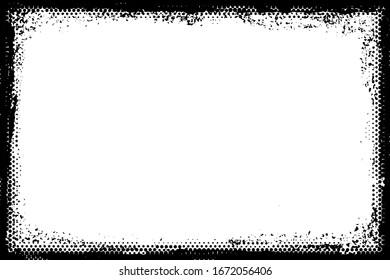 Grunge halftone frame. Scratched dots background.