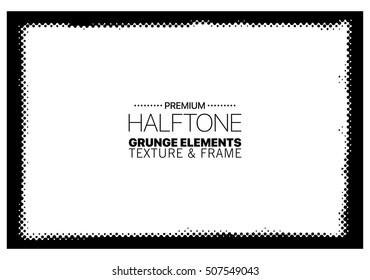Grunge halftone frame vector template