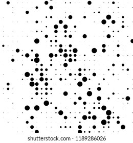 Grunge halftone pattern. Pointillism, stipplism style. Textured background with dots, circles, Points of different scale. Scalable vector graphics.