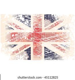 Grunge halftone Union Jack