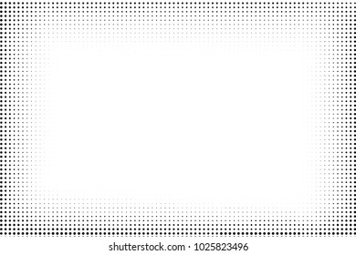 Grunge halftone vector background. Halftone dotted frame.