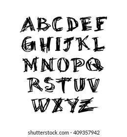Grunge hand drawn alphabet