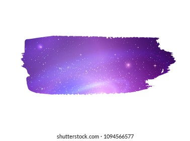 Grunge hand drawn banner with glowing ultraviolet outer space inside.